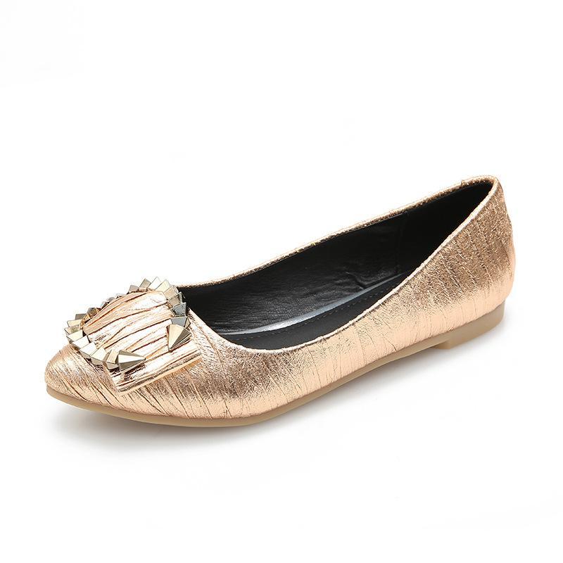 Плюс Размер 35-43 Дамы Скольжения На Мокасины Летние Квартиры Серебро Золото Женская Обувь Дышащая Удобная Весна Повседневная Одиночная Обувь