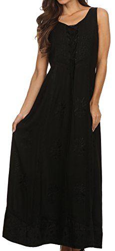 Регулируемое корсетное платье с вышивкой Sakkas Stella Long Tank Top с вышивкой