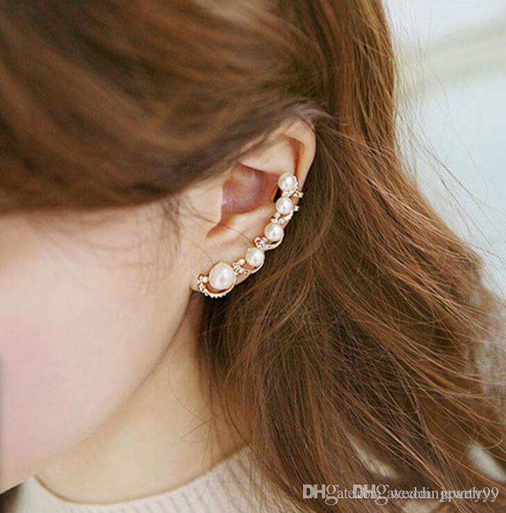Fashion Women Gifts Elegant Pearl Ear Studs Cuff Rhinestone Earrings