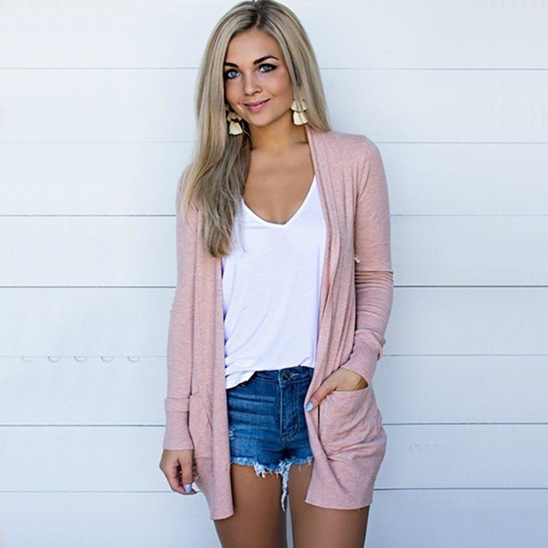 2020 2020 New Spring Fashion Cardigan Knitted Sweater Women Leisure V Neck Long Sleeve Ladies Solid Mid Length Pocket Korean Pink From Weskit 66 13 Dhgate Com