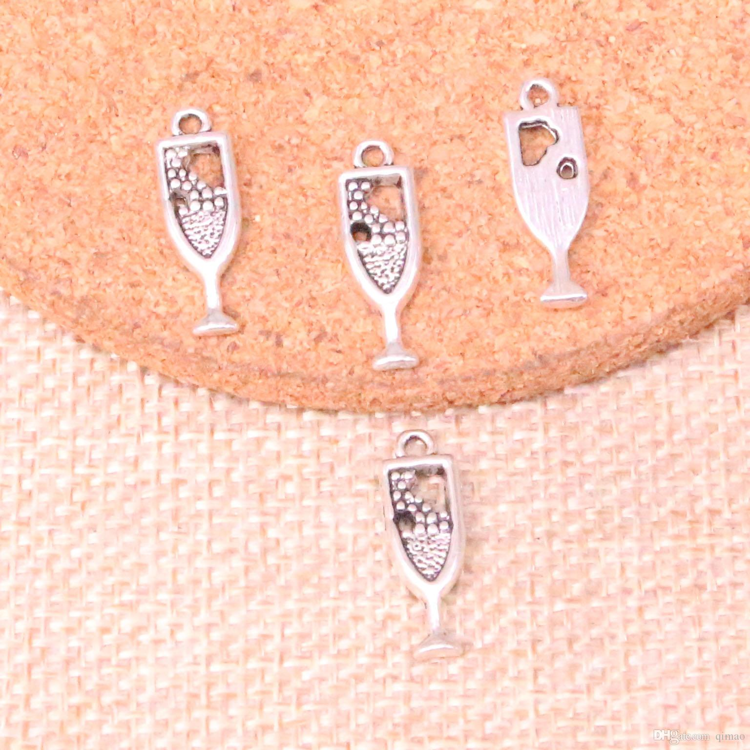 216pcs Charms wine glass Antique Silver Plated Pendants Fit Jewelry Making Findings Accessories 20*6mm
