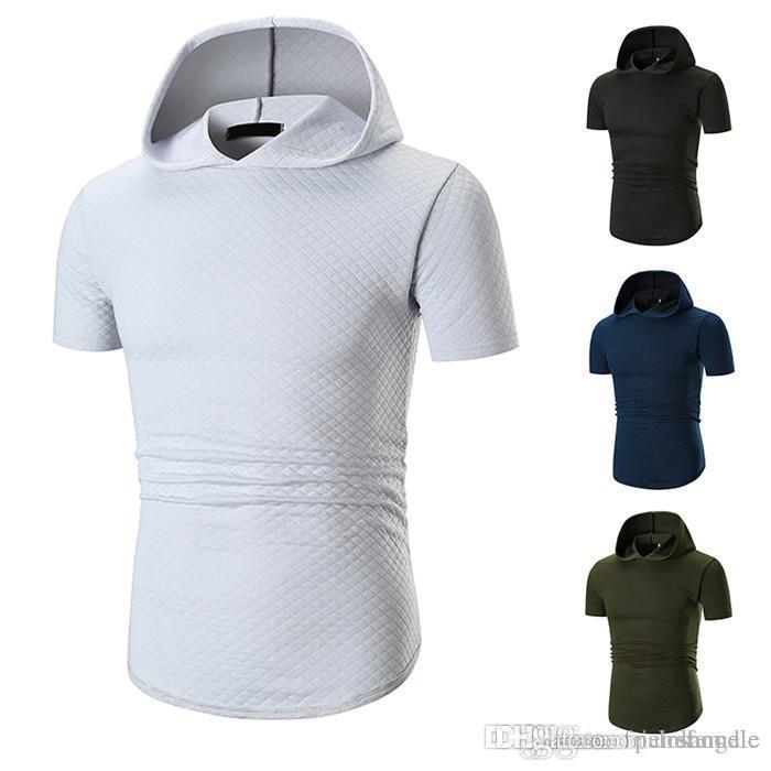 2019 Sommer-neue Kapuze Große Herren T-Shirt populäre beiläufige feste kurze Hülsen-Breathable Designer Shirts
