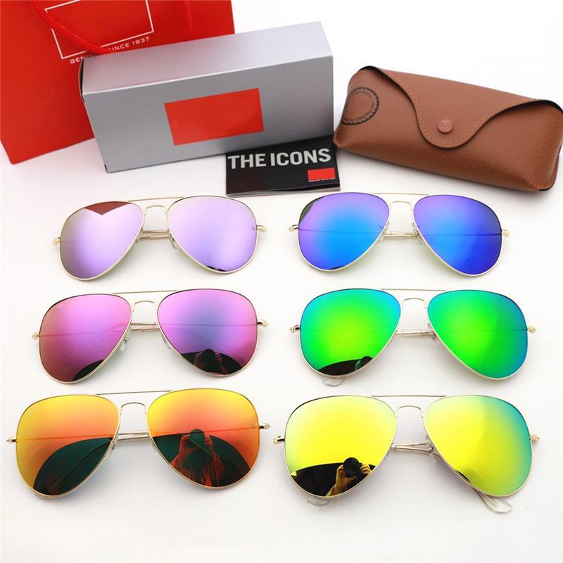 brand sunglasses women mens sunglasses high-definition colorful glass lens metal framee sunglasses anti-UV lover gift fashion driving shade