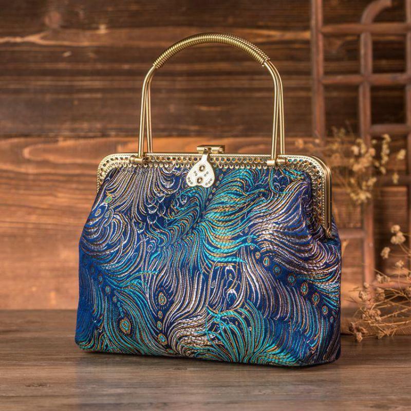 Johnature Handmade Retro Cheongsam Women Handbag 2020 New Chinese Style Banquet Floral Ladies Elegant Hand Bags Shoulder Bag