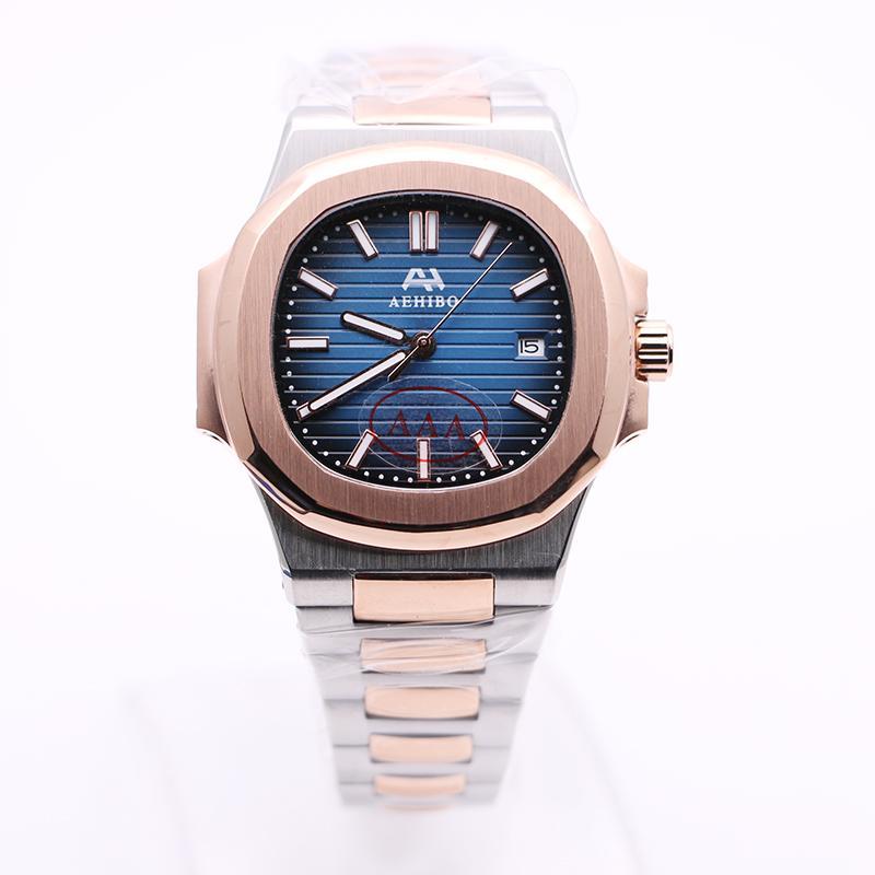U1 Fábrica AEHIBO Marca Two Tone Dial Azul Nautilus Automático Mecânica Mens Watch 42mm de aço inoxidável dos homens Relógios de pulso