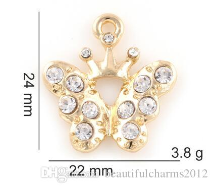 22x24mm (oro, plata del color) 20pcs / lot venden diamantes de imitación de la mariposa Ala de bricolaje colgante ajuste Accesorio para flotar Locket Jewelrys Moda