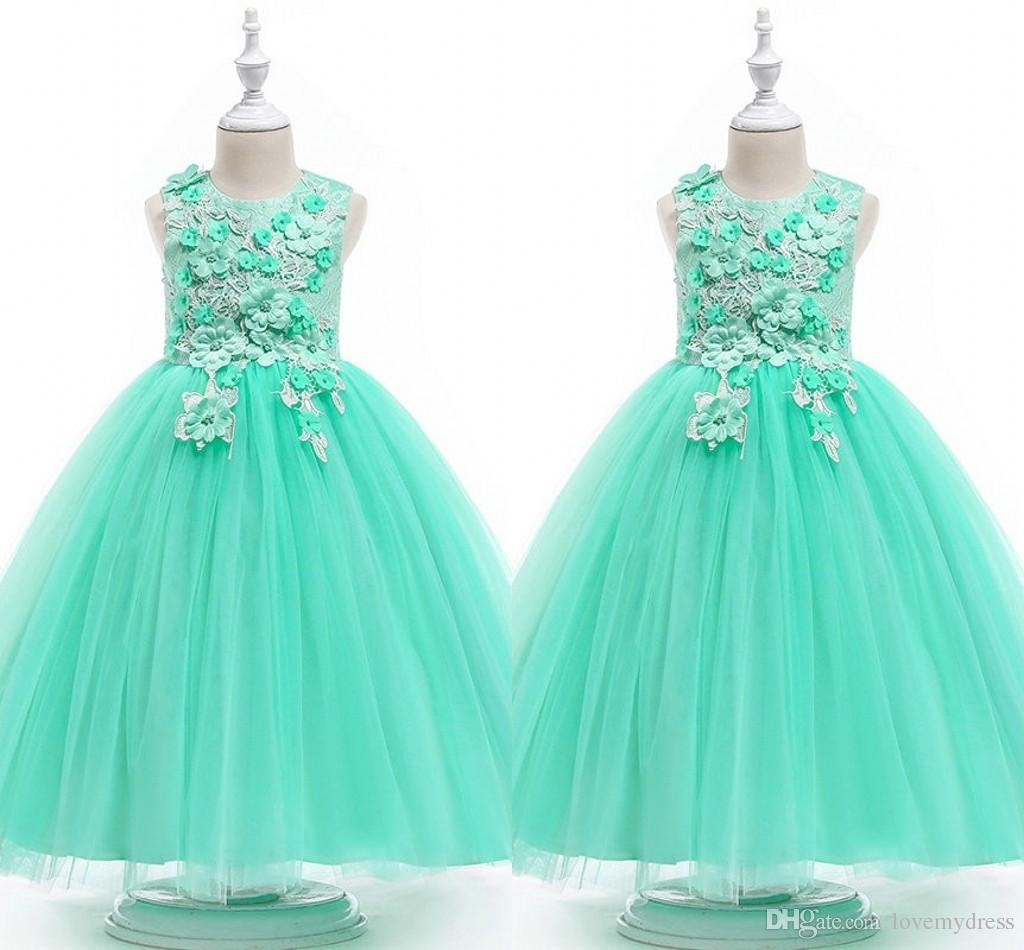Mint Green Ball Gown Flower Girls Dresses 2020 Lace 3D Flowers Beaded Cap Sleeve Jewel Girls Prom Dress Pageant Toddler First Communion Gown