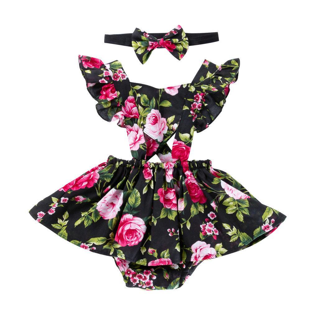 Floral vestido estampado mamelucos + headwear niña bebé conjunto de dos piezas Sling Ruffles vestido del mono niños Conjuntos de niños pequeños Verano caliente Nuevo