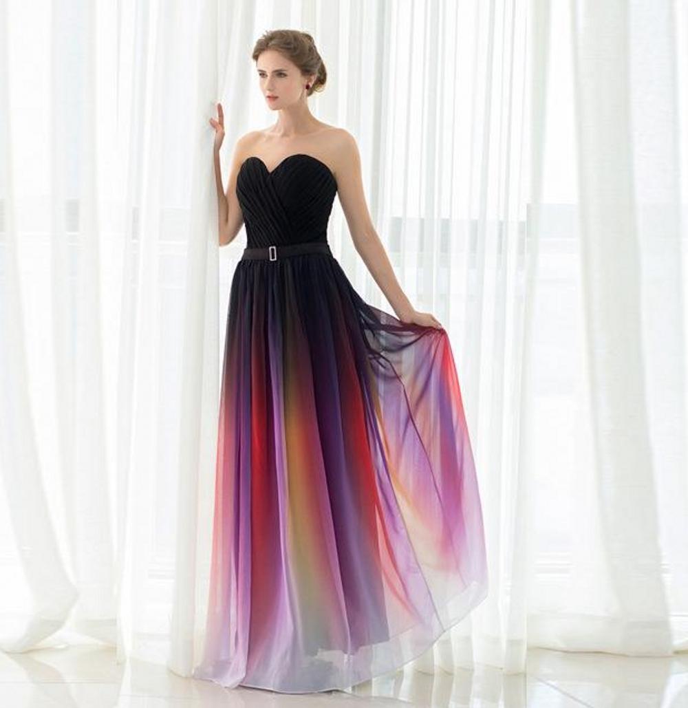 Nueva Elie Saab de noche de baile vestidos sin espalda de la correa del color del gradiente Negro gasa ocasión formal del partido Vestidos Real Fotos más el tamaño atractivo DH4249