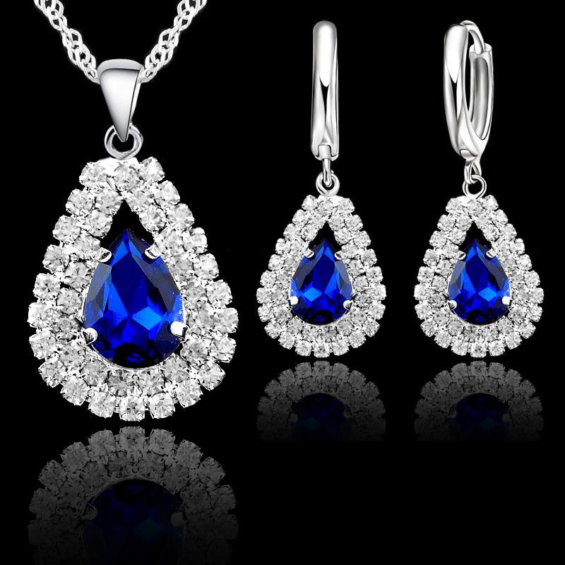 2020 Sistemas de la joyería fina de agua caída de moda pendientes pendientes 925 Cubic Zirconia joyería de moda plata de ley del corazón collar de Austria