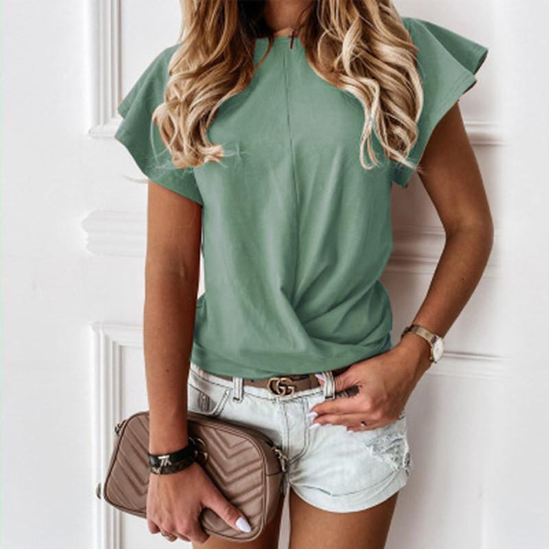 Verão 100% algodão mulheres camisetas borboleta manga curta doce doce plissado camiseta senhora 2020 moda casual camisetas feminino