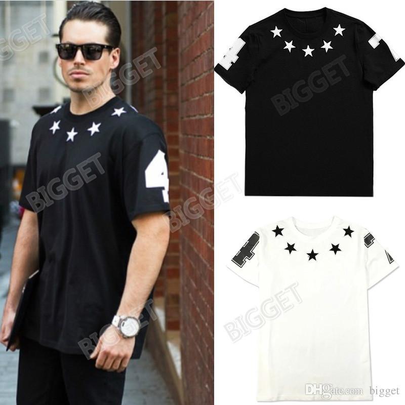 Stars Patch T Shirt For Men Fashion Design Street Wear Man Shortsleeve Round Neck Tee Cotton Top