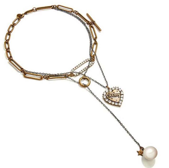 Große förderung europäisch und amerikanisch multilayer herz anhänger perlen halskette verkauft schmuck liebhaber anhänger frei vintage schmuck
