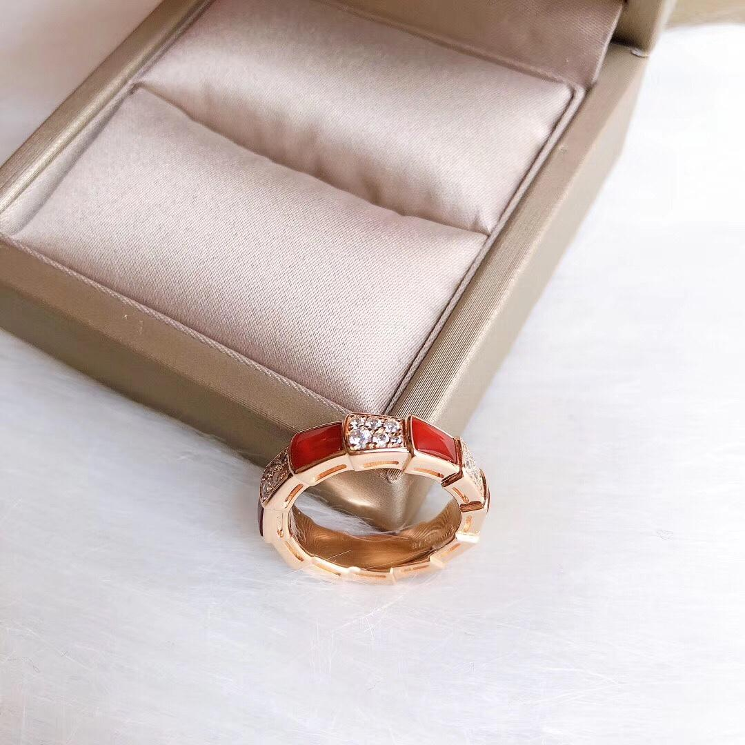 Hot sale red agate serpentine diamond S925 silver wild designer ring favour designer jeweler women rings