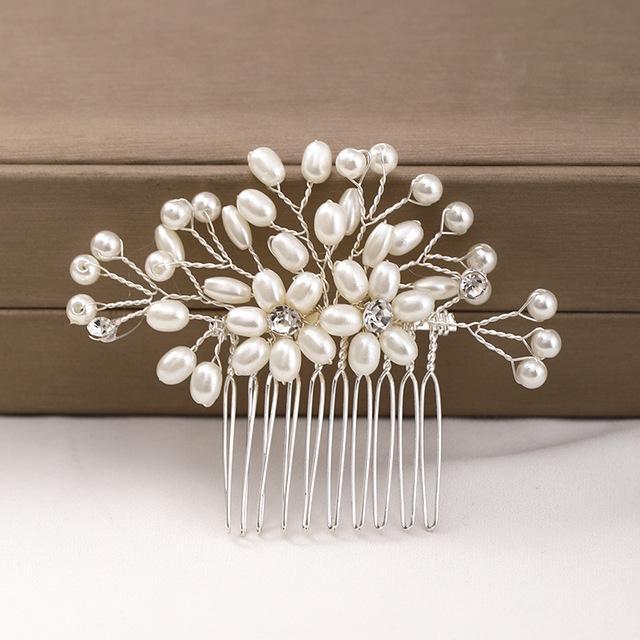 Accessori di cerimonia nuziale della perla di modo fiore Wedding Accessori per capelli colore Silver copricapo nuziale del pettine dei capelli delle signore handmade di Tiara