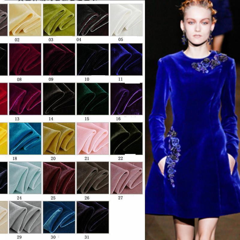 tessuto in velluto di seta 140cm Larghezza s per tessuto di seta abito di velluto 30 colori