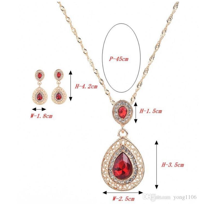 traje de diseñador de los pendientes del collar de Europa y América traje de gran collar de la joya lujosa nueva moda exquisita dama de diamantes conjunto de banquetes