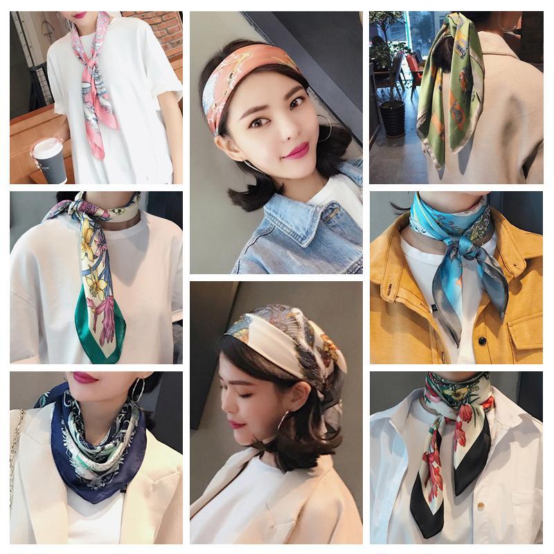 2019 Mode Mouchoir en satin de soie Hijab foulard pour les femmes imprimé floral place Foulards et châles Echarpes cheveux Echarpes Lady
