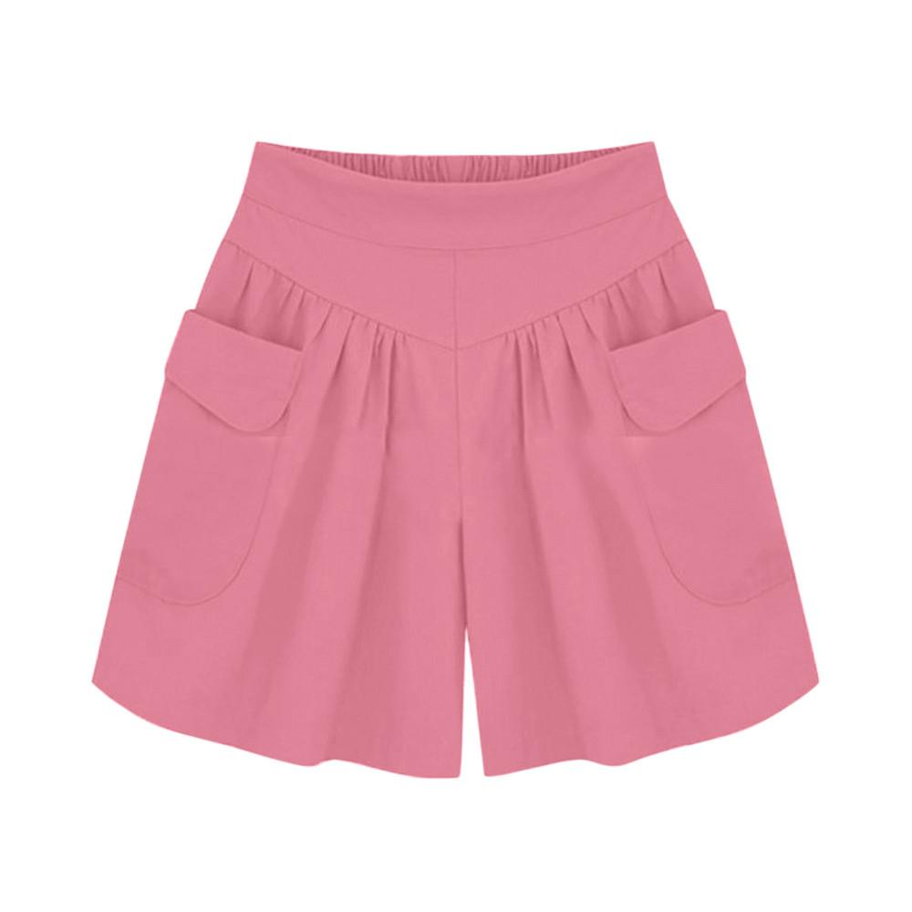 High Waisted Wide Leg Hot Ladies Shorts Plus Size Solid Loose Hot Summer Casual White Red Pink Short Pants Spodenki Damskie