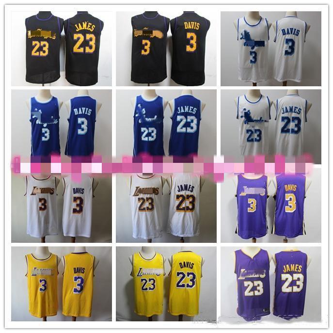 2019 Nova LeBron James 23 Anthony 3 Universidade Davis JerseynbaLosAngeles Mens Basketball Jerseysmulheres jovens Lakers