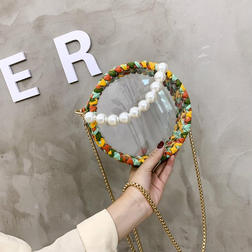 Luxury Designer Womens Shoulder Bags Inclined Shoulder Bag Handmade Weave Pearl Handheld Transparent Circular Sweet Girl Multicolor Fashion3