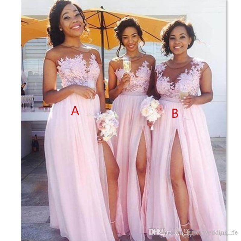 아프리카 블러쉬 핑크 들러리 드레스 2020 섹시한 투명한 보석 목 레이스 아플리케 메이드 명예 드레스의 높은 분할 정장 파티 이브닝 가운