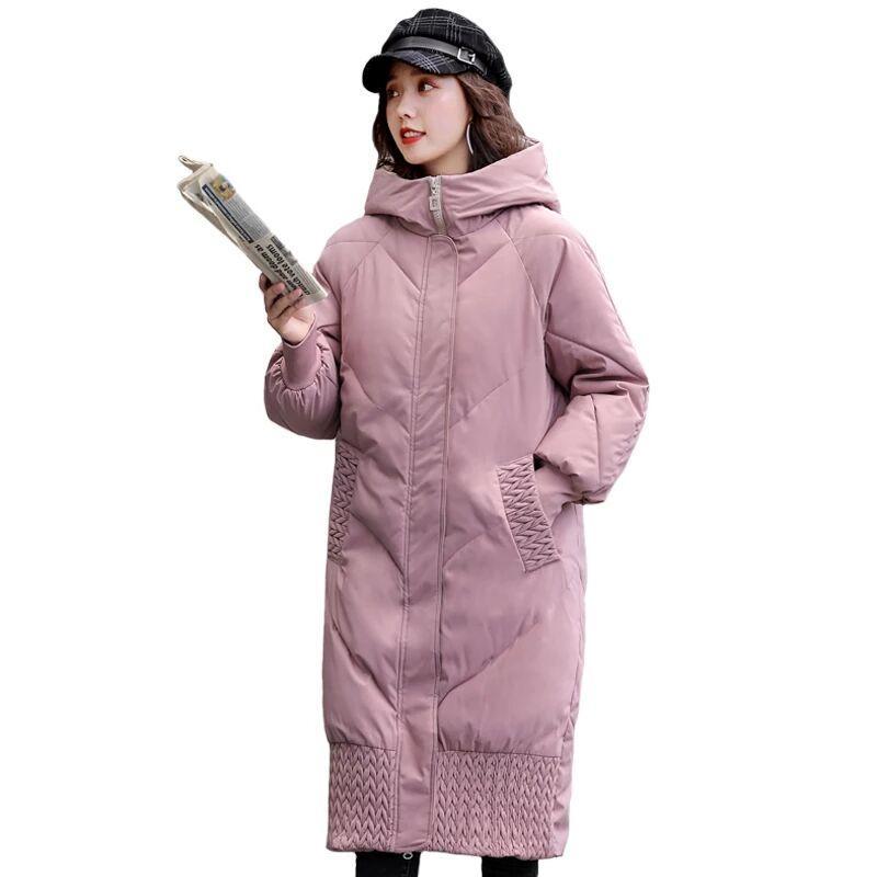 2020 Mulheres de Inverno com capuz Quente Brasão Plus Size Verde algodão acolchoado Jacket Feminino Longo Parka Womens Wadded Jaqueta Feminina