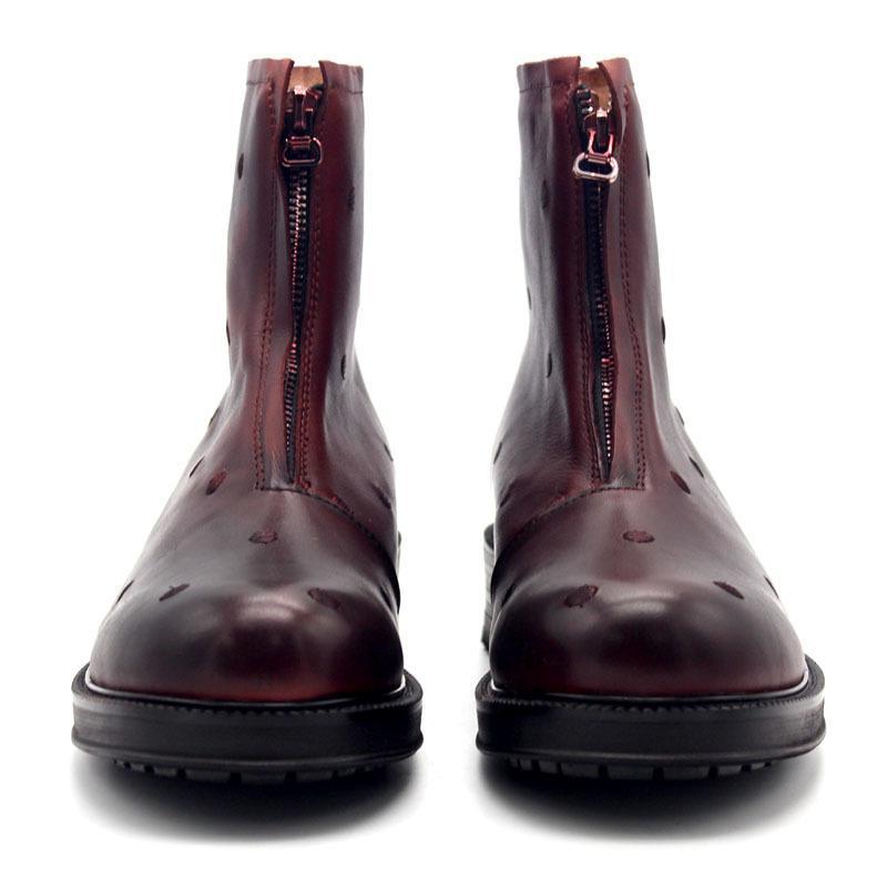 2020 Mode piste rouge réel Bottes de cow-boy en cuir Hommes Zipper épais Bottes Bas Hommes Top qualité Broderie Homme Chaussures Angleterre