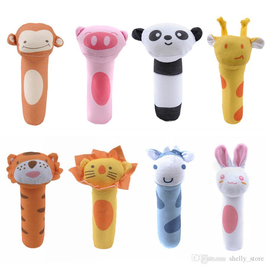 New Arrival Baby Cartoon Rabbit Dear Plush Rattle Ring Bell Newborn Hand Grasp Toys Soft Mobile Infant Crib Doll Infant Baby Toy