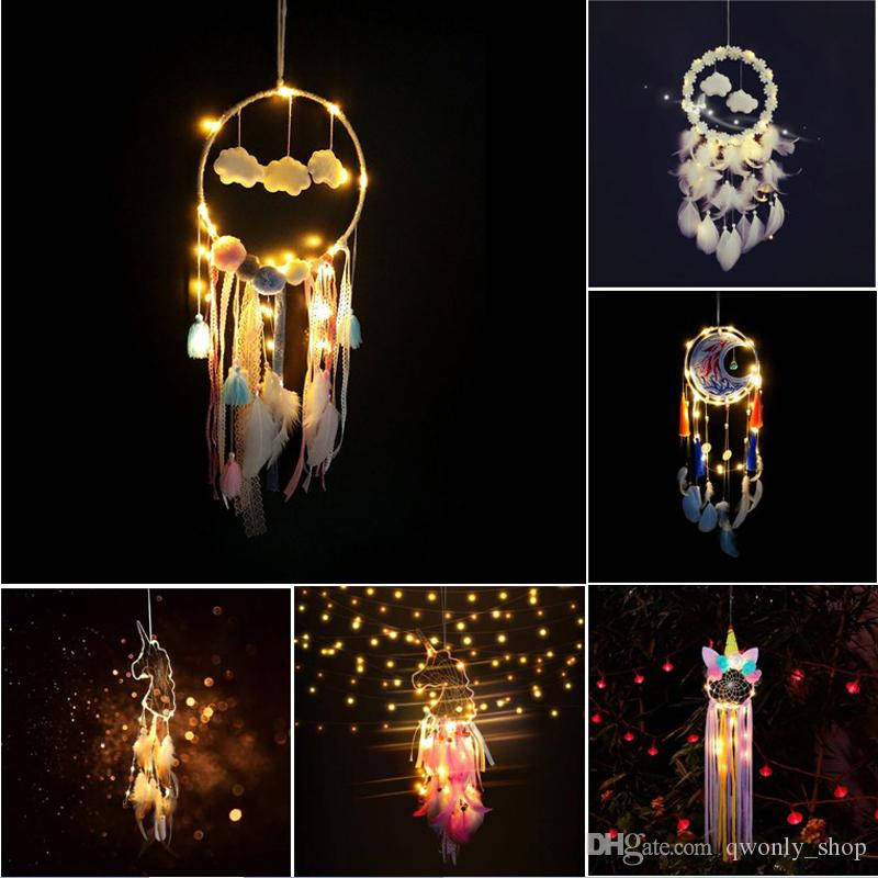 Flaky Clouds Dreamcatcher Feather Girl Catcher Network LED Dream Catcher Bed Room Hanging Ornament Cartoon Accessories 10 Colors