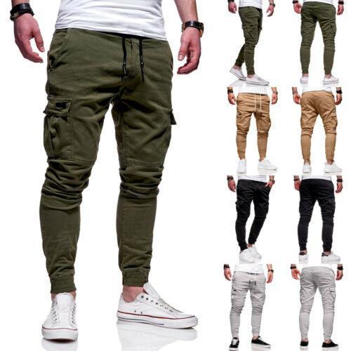 Nuevos Mens adelgazan chándal flaco jogging Joggers pantalones de chándal Pantalones Joggers casuales pantalones de algodón elástico de pantalones largos