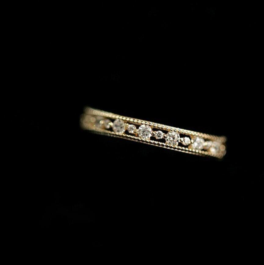 Exquisite Small 14K White Gold Filled Tiny Baguette Diamond Ring Ring Size 6-10
