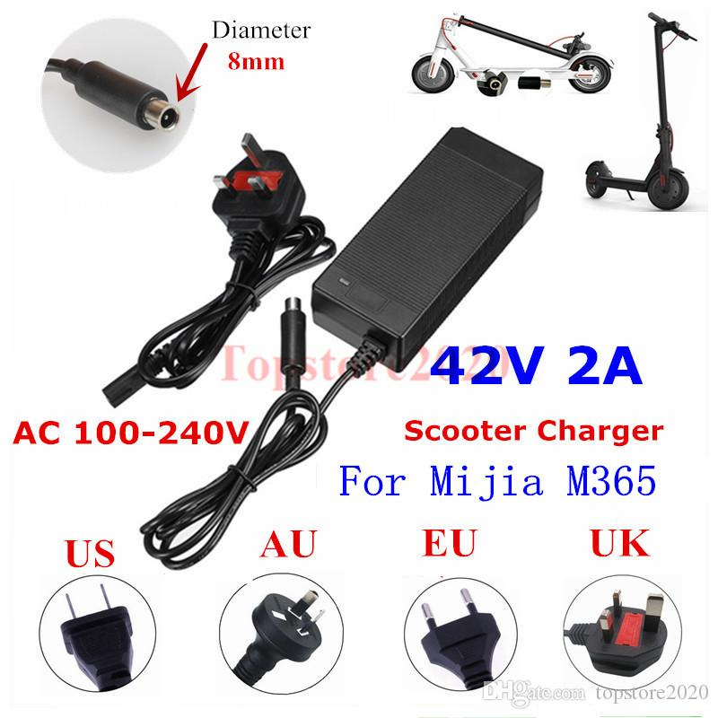 Power Adapter carregador 42V 2A Bateria de lítio para Mijia M365 / ES2 ES4 / ave / Lime / Scooter Elétrica carregador 10PCS