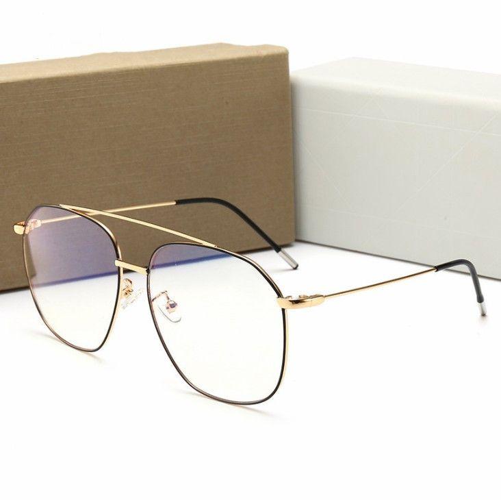 رجل جديد إمرأة نظارات شمس مكافحة الزرقاء الخفيفة نظارات رجل إمرأة شقة مرآة نظارات عالية الجودة مع صندوق