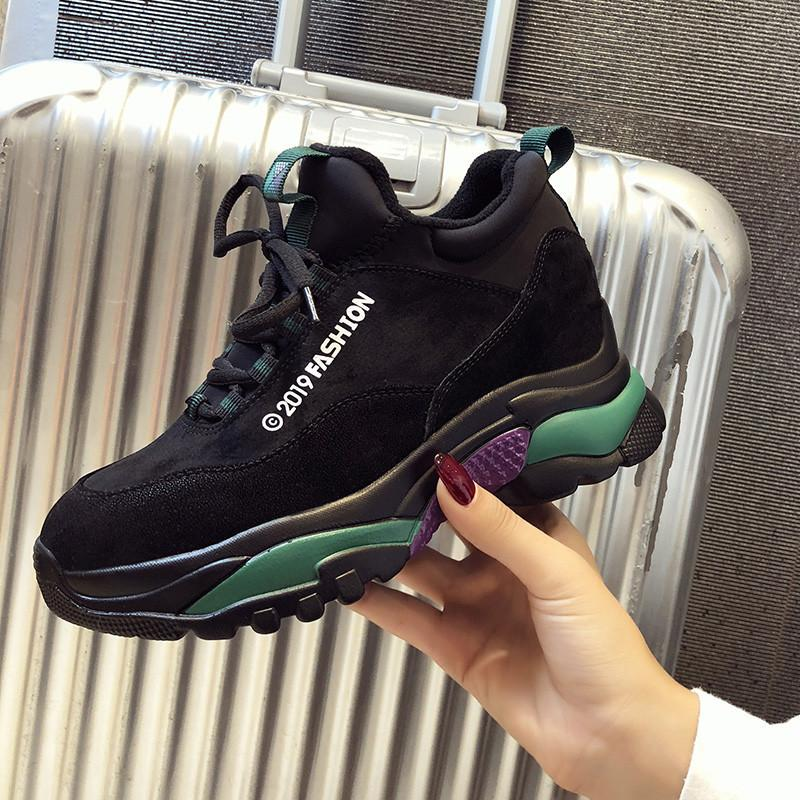 2019 New Pantshoes Heels 5cm Leather Women's High Platform Sneakers Spring Warm Shoes increased height 2cm Chunky Dad Sneakers CJ191220