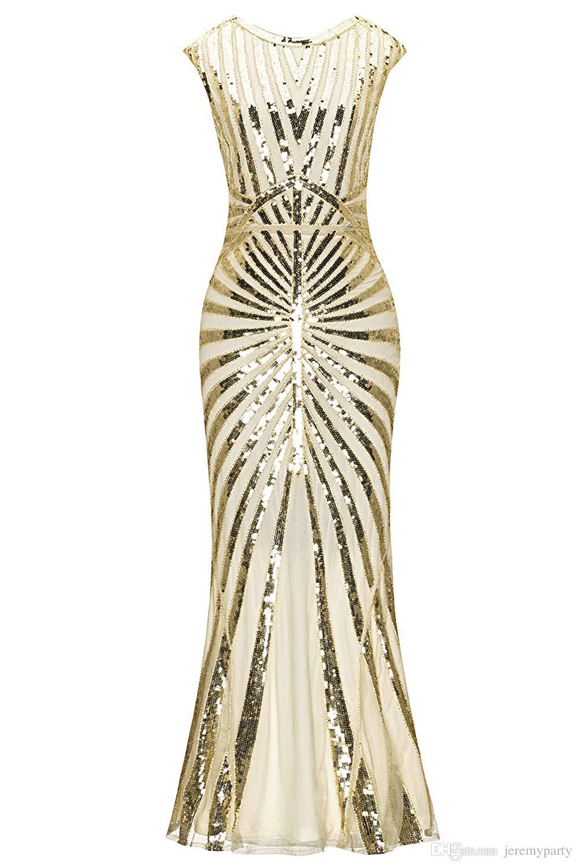 Großhandel QUALITÄT Der 11er Jahre Flapper Vintage Pailletten  Meerjungfrau Saum Formal Flapper Roaring 11er Jahre Große Gatsby Party  Abend Langes