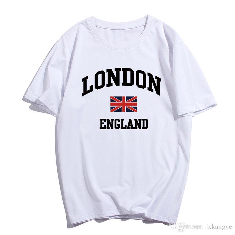 E-BAIHUI новая продажа мода Лондон печати футболка хип-хоп повседневная футболка мода футболка 100% хлопок белый и черный T-079