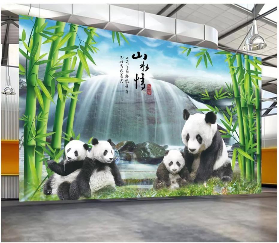 Пользовательские 3D шелк фото обои фреска национальное сокровище панда бамбук лес водопад панда ТВ фон стены украшения стены наклейки