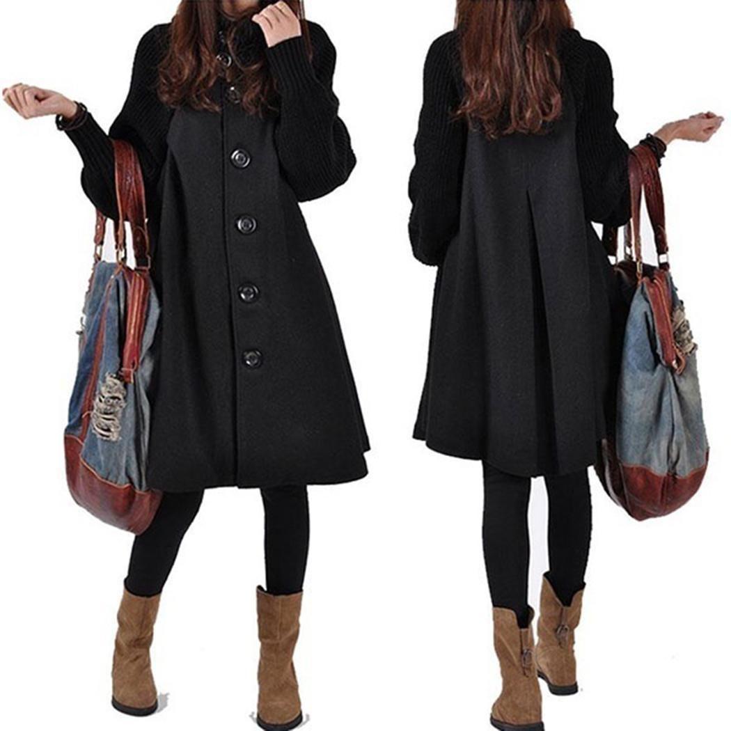 Женщины Повседневная стенд воротник фонарь рукав кнопка лоскутное длинное платье повседневное, уличное, наружное и т. д пальто зима