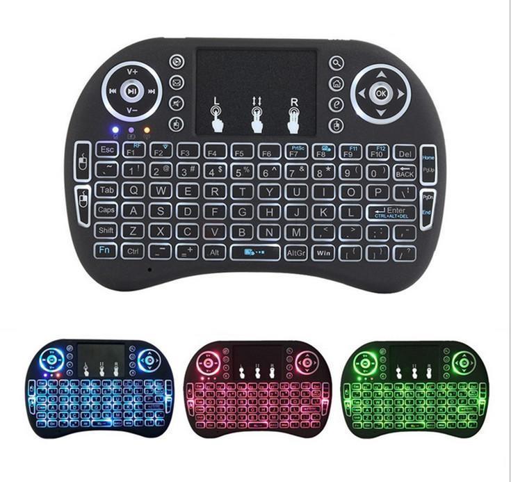 Rii I8 무선 키보드 백라이트 2.4G 에어 마우스 키보드 스마트 안드로이드 TV 상자에 대 한 원격 제어 터치 패드 3D 게임 노트북 태블릿 PC