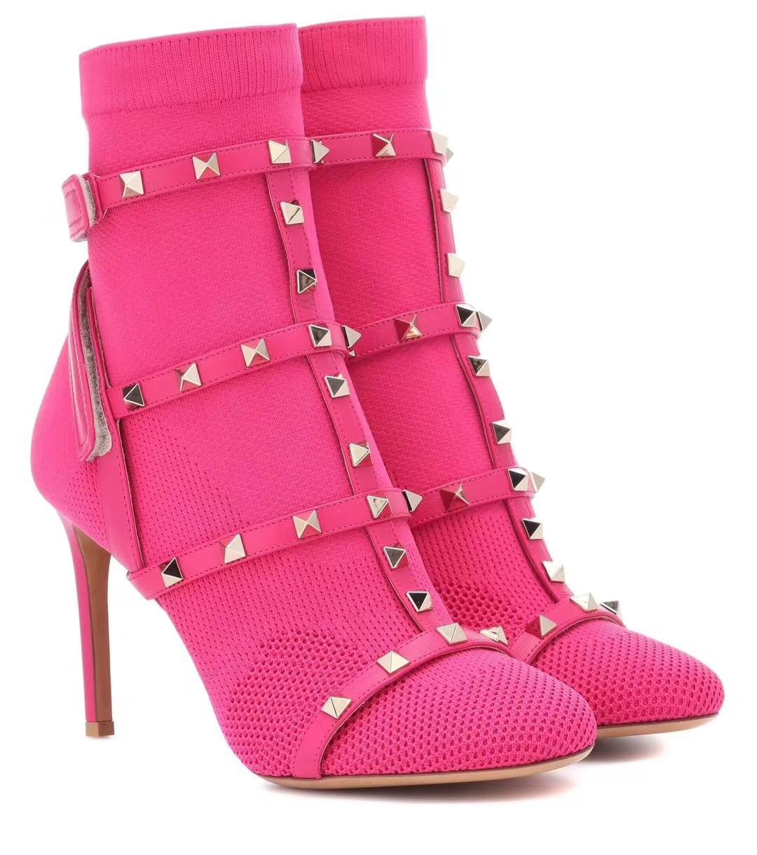 Womens lusso caldo del progettista di vendita-modo delle donne scarpe stivali media Superstar Nuova 2018 Retros Thick Heel Boots lusso scarpe di alta qualità Boots41