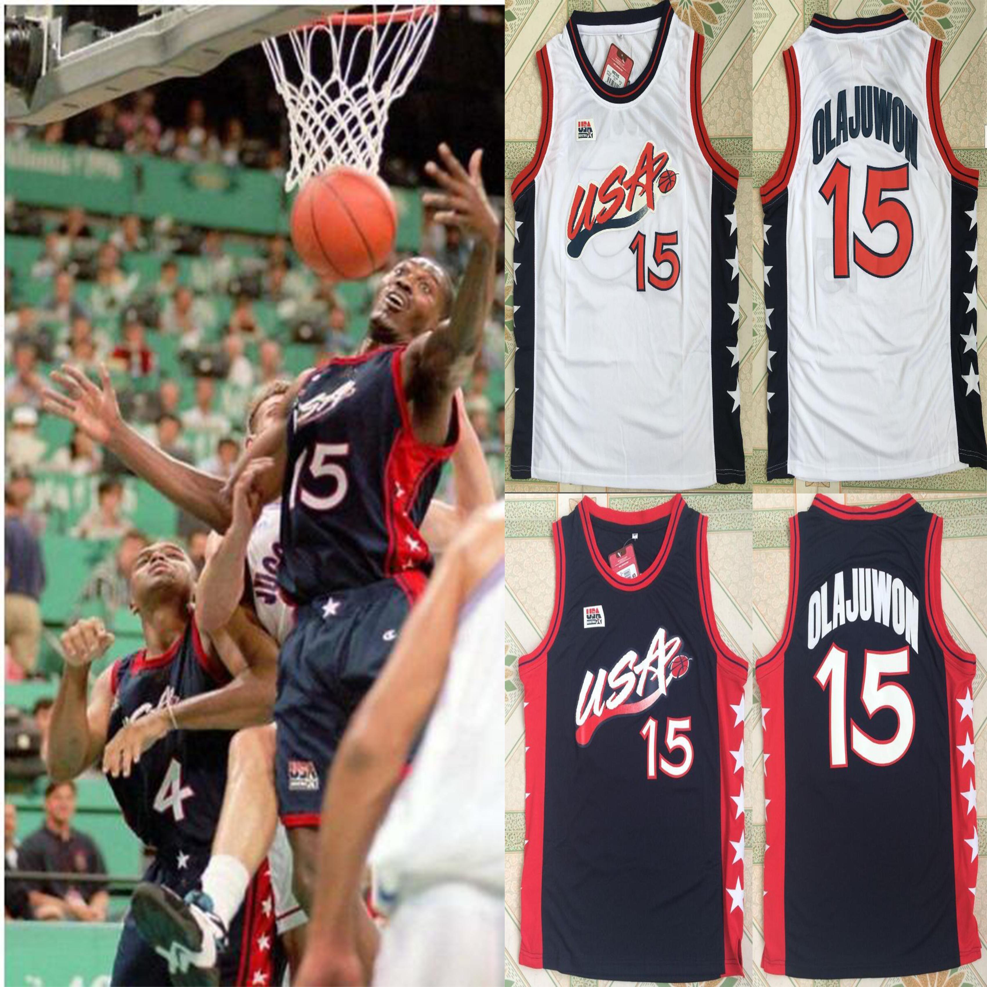 Top del baloncesto de Jersey 1996 del equipo de baloncesto Hakeem Olajuwon # 15 Retro cosido blancas camisas jerseys envío de la gota del tamaño S-XXL