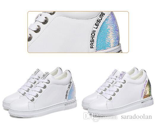 2019 mulheres de couro do plutônio branco 3,5 cm altura crescente sneakers 35-40