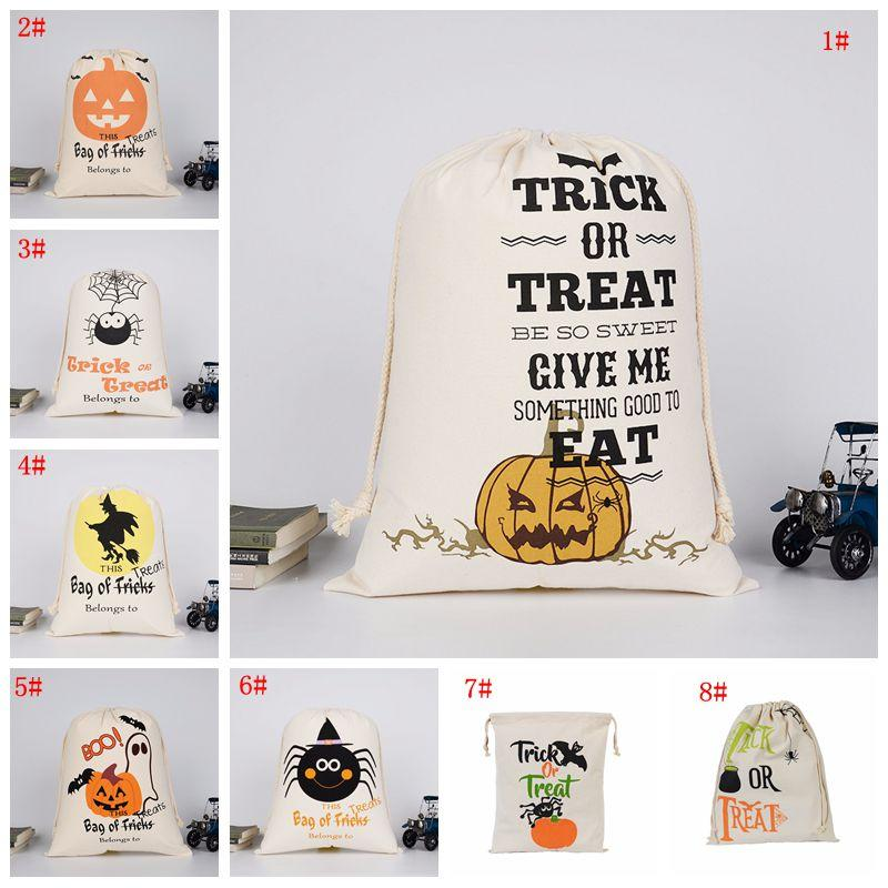 Halloween Candy Gift Bag Drawstring Canvas Storage Bag Bat Spider Pumpkin Print Organizer Bag Halloween Sack Bags Party Supply DBC VT0561