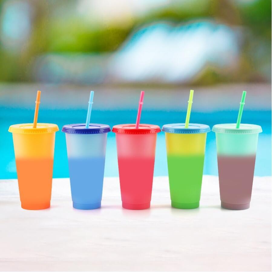 24 once Cambiare colore Bicchieri bere tazza magica plastica con coperchio e paglia riutilizzabile caramella colori freddi Summer Cup Water Bottle 25pcs CCA12201