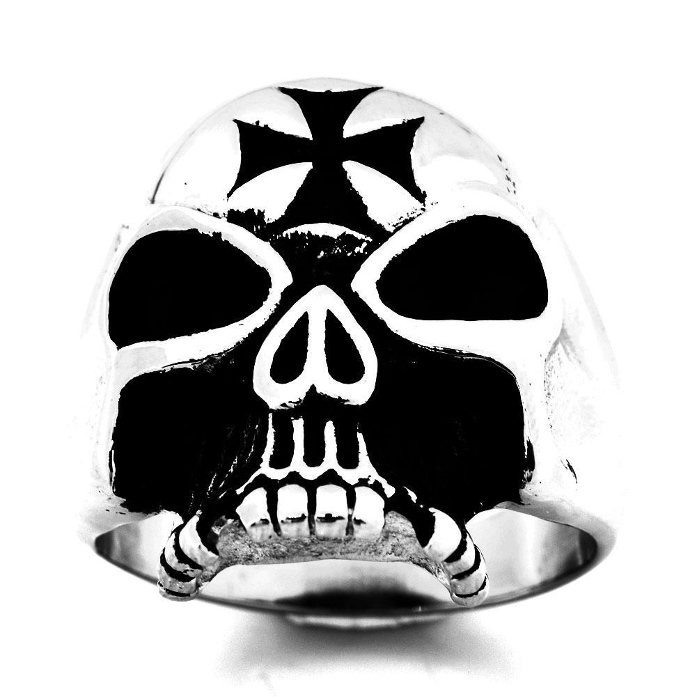 Fanssteel de acero inoxidable para hombre o wemens Jewelry Vintage Punk Cross Skull Ring regalo para Borthers FSR10W60