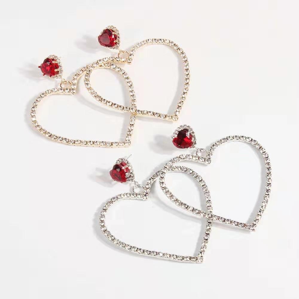 heart diamonds dangle earrings for women fashion golden silver crystal ruby chandelier earring gift for girlfriend western hot sale jewelry