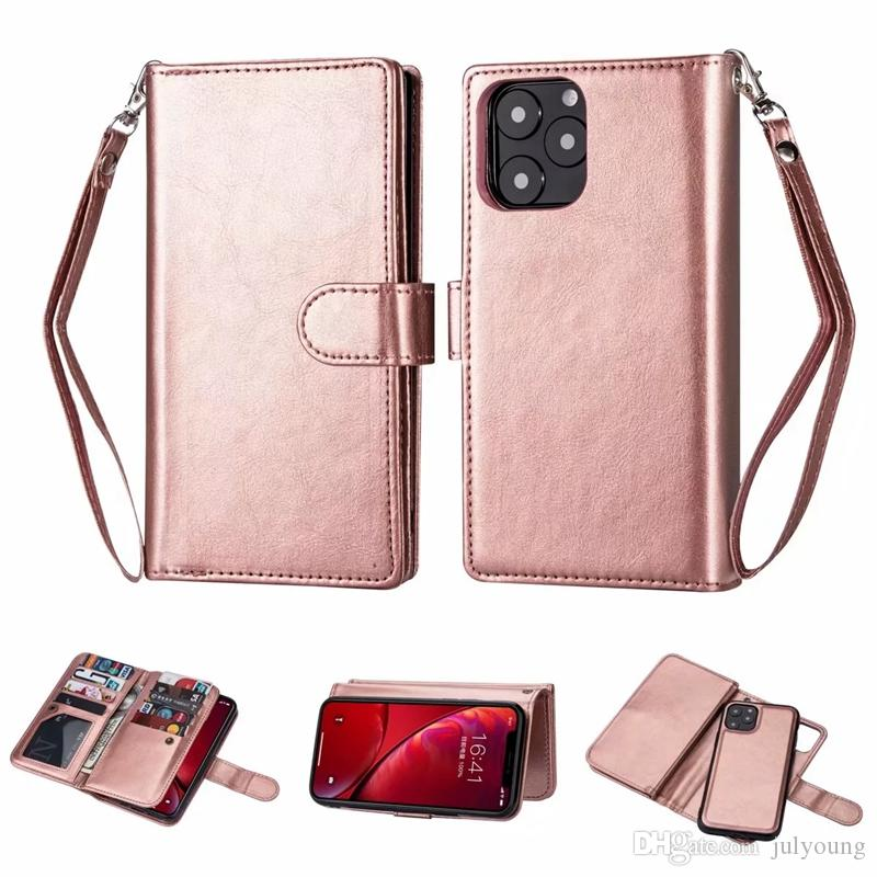 Portafoglio rimovibile in pelle per Iphone 11 Nuovo 5.8 6.1 6.5 2019 Custodia Galaxy Note 10 Pro Plus Custodia staccabile Flip Cover Custodia magnetica 2in1