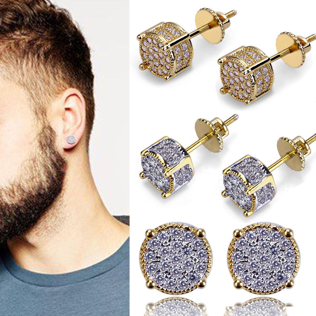 New 18K Gold Hiphop CZ Zircon Round Stud Earrings 0.7cm for Men Women and Girls Gifts Diamond Earrings Studs Rock Rapper Jewelry Wholesale