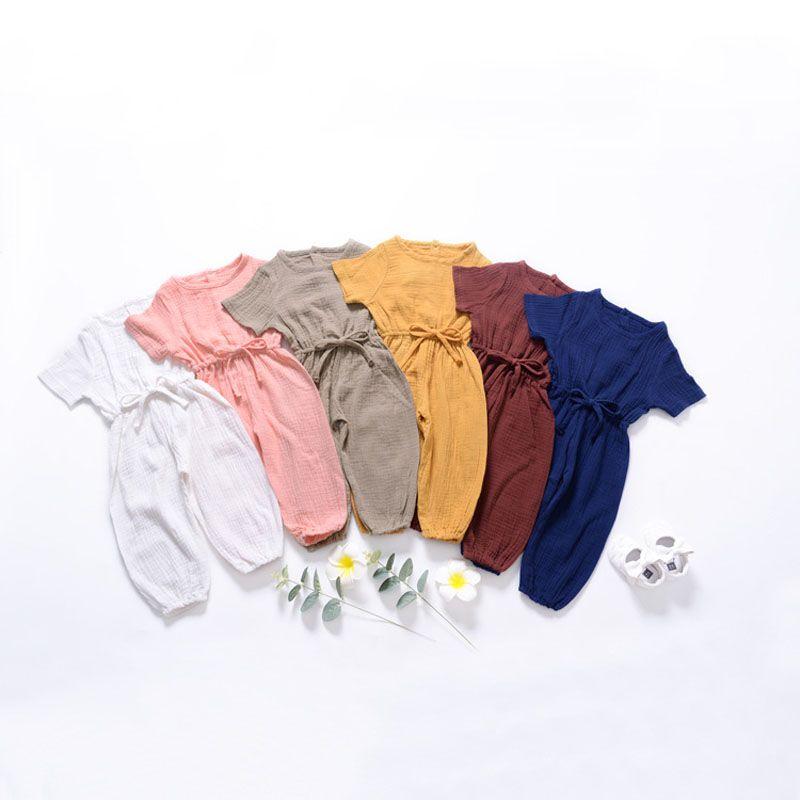 Baby Girl Casual Комбинезоны Дети Solid Color O-образный вырез шнуровки Фонарь Комбинезоны Мальчик лето Комбинезон младенец младенец девушки вскользь одежды 060729